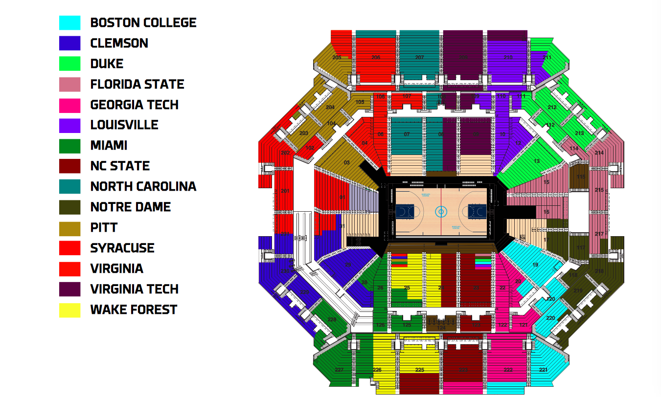 Acc Tournament Seating Chart Released Sports Channel 8